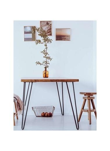 Woodesk Masif Ağaç Meşe Renk 80x60x3 cm Yemek Masası Renkli